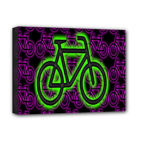 Bike Graphic Neon Colors Pink Purple Green Bicycle Light Deluxe Canvas 16  X 12   by Alisyart
