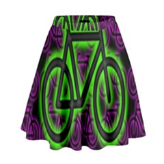 Bike Graphic Neon Colors Pink Purple Green Bicycle Light High Waist Skirt by Alisyart