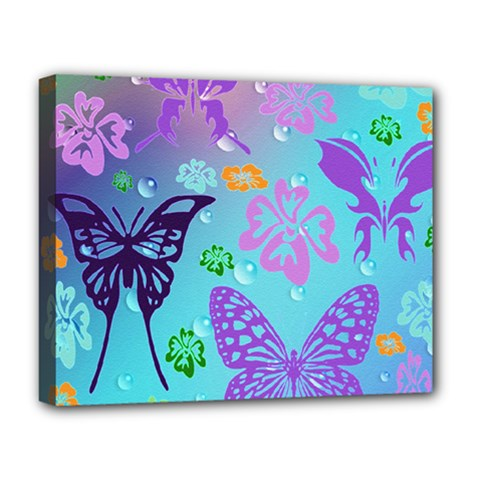 Butterfly Vector Background Deluxe Canvas 20  X 16   by Amaryn4rt