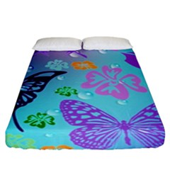 Butterfly Vector Background Fitted Sheet (king Size) by Amaryn4rt