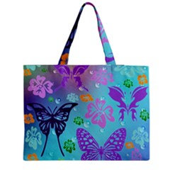 Butterfly Vector Background Medium Zipper Tote Bag by Amaryn4rt