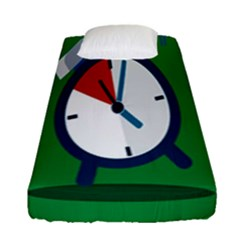 Alarm Clock Weker Time Red Blue Green Fitted Sheet (single Size) by Alisyart