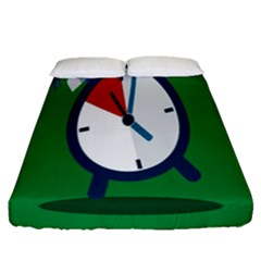 Alarm Clock Weker Time Red Blue Green Fitted Sheet (queen Size) by Alisyart