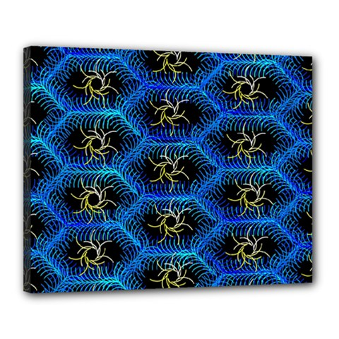 Blue Bee Hive Pattern Canvas 20  X 16  by Amaryn4rt