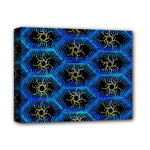 Blue Bee Hive Pattern Deluxe Canvas 14  X 11  by Amaryn4rt