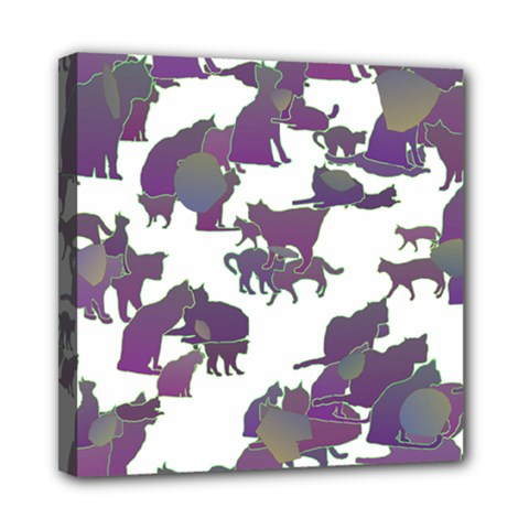 Many Cats Silhouettes Texture Mini Canvas 8  X 8  by Amaryn4rt