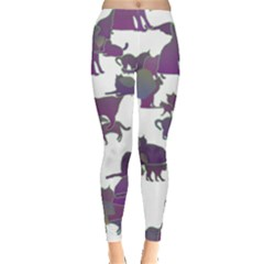 Many Cats Silhouettes Texture Leggings  by Amaryn4rt