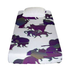 Many Cats Silhouettes Texture Fitted Sheet (single Size) by Amaryn4rt
