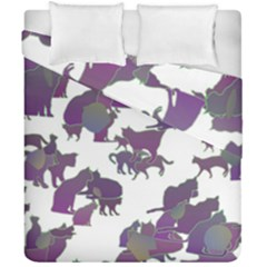 Many Cats Silhouettes Texture Duvet Cover Double Side (california King Size) by Amaryn4rt