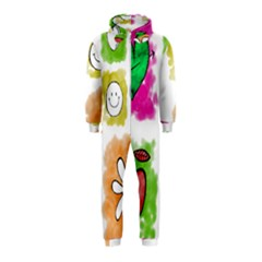 A Set Of Watercolour Icons Hooded Jumpsuit (kids)