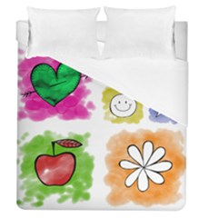 A Set Of Watercolour Icons Duvet Cover (queen Size) by Amaryn4rt