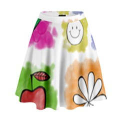 A Set Of Watercolour Icons High Waist Skirt by Amaryn4rt