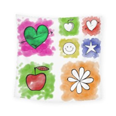 A Set Of Watercolour Icons Square Tapestry (small) by Amaryn4rt