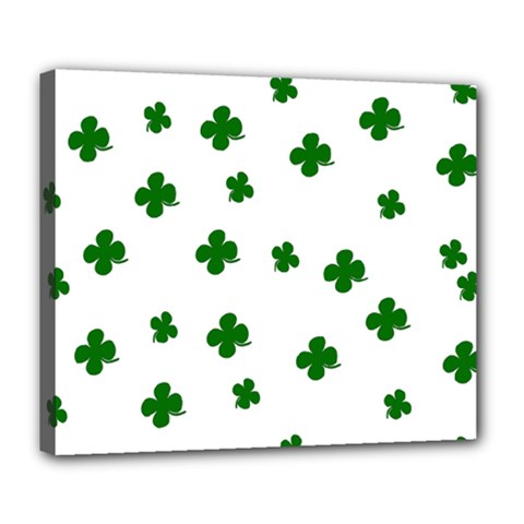 St  Patrick s Clover Pattern Deluxe Canvas 24  X 20   by Valentinaart