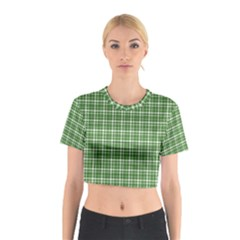 St  Patricks Day Plaid Pattern Cotton Crop Top by Valentinaart