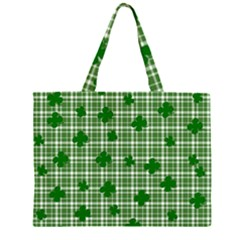 St  Patrick s Day Pattern Zipper Large Tote Bag by Valentinaart