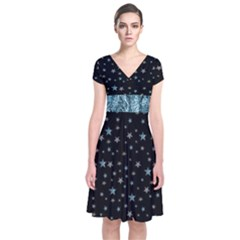 Stars Short Sleeve Front Wrap Dress