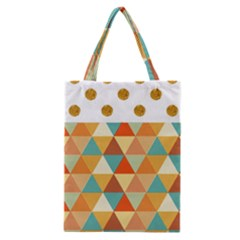 Golden Dots And Triangles Pattern Classic Tote Bag by TastefulDesigns