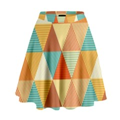 Golden Dots And Triangles Pattern High Waist Skirt by TastefulDesigns