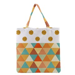 Golden Dots And Triangles Patern Grocery Tote Bag by TastefulDesigns