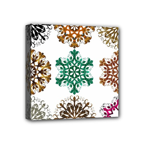 A Set Of 9 Nine Snowflakes On White Mini Canvas 4  X 4  by Amaryn4rt