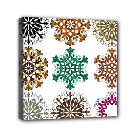 A Set Of 9 Nine Snowflakes On White Mini Canvas 6  X 6  by Amaryn4rt