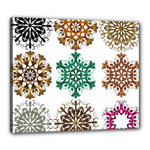 A Set Of 9 Nine Snowflakes On White Canvas 24  X 20  by Amaryn4rt