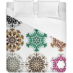 A Set Of 9 Nine Snowflakes On White Duvet Cover (california King Size) by Amaryn4rt