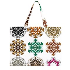 A Set Of 9 Nine Snowflakes On White Zipper Large Tote Bag by Amaryn4rt