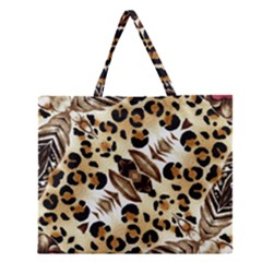 Background Fabric Animal Motifs And Flowers Zipper Large Tote Bag by Amaryn4rt