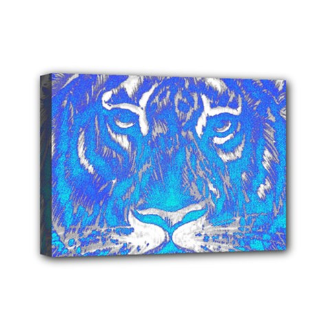 Background Fabric With Tiger Head Pattern Mini Canvas 7  X 5  by Amaryn4rt
