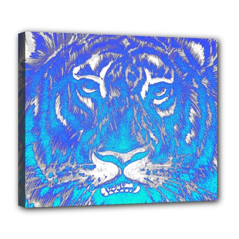 Background Fabric With Tiger Head Pattern Deluxe Canvas 24  X 20   by Amaryn4rt