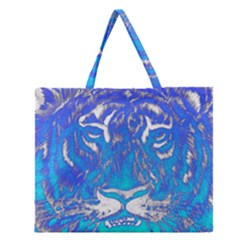 Background Fabric With Tiger Head Pattern Zipper Large Tote Bag by Amaryn4rt