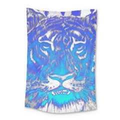 Background Fabric With Tiger Head Pattern Small Tapestry by Amaryn4rt
