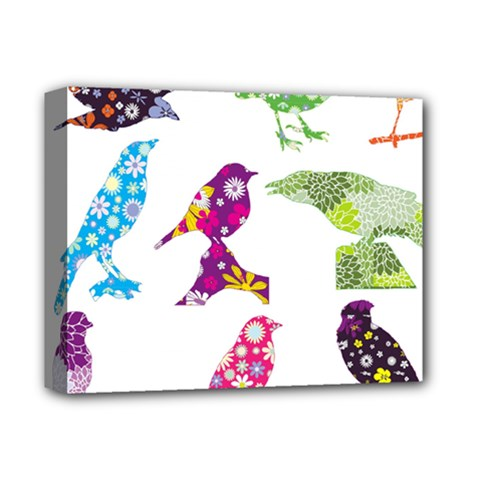 Birds Colorful Floral Funky Deluxe Canvas 14  X 11  by Amaryn4rt