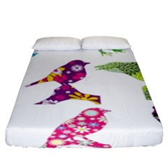 Birds Colorful Floral Funky Fitted Sheet (king Size) by Amaryn4rt