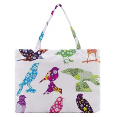 Birds Colorful Floral Funky Medium Zipper Tote Bag by Amaryn4rt