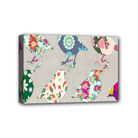 Birds Floral Pattern Wallpaper Mini Canvas 6  X 4  by Amaryn4rt