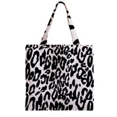 Black And White Leopard Skin Zipper Grocery Tote Bag by Amaryn4rt
