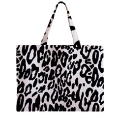 Black And White Leopard Skin Zipper Mini Tote Bag by Amaryn4rt