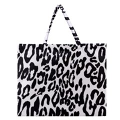 Black And White Leopard Skin Zipper Large Tote Bag by Amaryn4rt