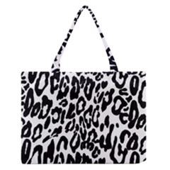 Black And White Leopard Skin Medium Zipper Tote Bag by Amaryn4rt