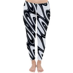 Black And White Wave Abstract Classic Winter Leggings by Amaryn4rt