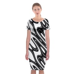 Black And White Wave Abstract Classic Short Sleeve Midi Dress