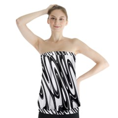 Black And White Wave Abstract Strapless Top by Amaryn4rt