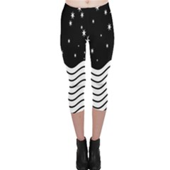 Black And White Waves And Stars Abstract Backdrop Clipart Capri Leggings  by Amaryn4rt
