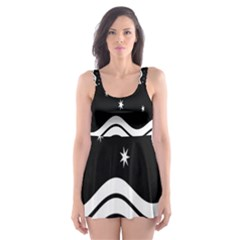 Black And White Waves And Stars Abstract Backdrop Clipart Skater Dress Swimsuit by Amaryn4rt