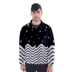 Black And White Waves And Stars Abstract Backdrop Clipart Wind Breaker (men) by Amaryn4rt