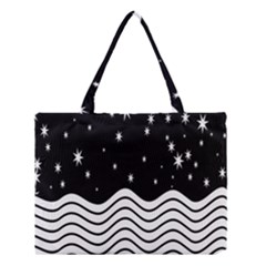 Black And White Waves And Stars Abstract Backdrop Clipart Medium Tote Bag by Amaryn4rt