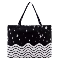 Black And White Waves And Stars Abstract Backdrop Clipart Medium Zipper Tote Bag by Amaryn4rt